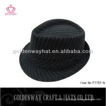 100% Polyester Strip chapéu de fedora preto