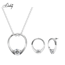 18K Gold Plated Mini Ring Set for Girlfriend Gift Pendant and Earrings with High Quality Crystal