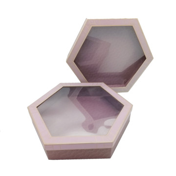 Hexagon Paper Flowers Rose Bouquet Package Gift Box