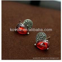 Women favorite red diamond earings garnet earrings 925 silver earrings