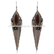 Hochwertige Boho-Vintage baumeln schwere Braut ethnischen hängenden Stein Ohrringe
