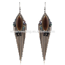 high quality boho vintage dangle heavy bridal ethnic hanging stone earrings