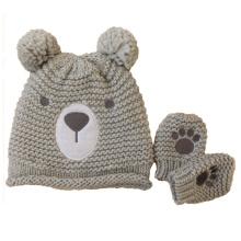 Kinder Baby Kinder Gestrickte Bär Druck Stickerei Handschuhe Handschuh Warme Mütze Hut (HW634S)