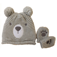 Children Baby Kids Knitted Bear Printing Embroidery Gloves Mitten Warm Beanie Hat (HW634S)