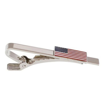 Official American Flag Silver Tie Bar Clip