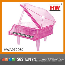 New Design Plastic Pink Piano 3d Puzzle Diy Toy for Sale