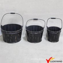 Schwarzes Holzfass für Blume oder Pflanze (Markenname: Luckywind)