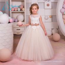 Sequined Beading Sashes Bow A-Line Little Girls Bridesmaid Dresses