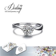 Destino joyería cristal de Swarovski anillo de copo de nieve