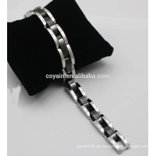 Pulsera de brazalete de chapado en negro para hombres Brazalete de acero de cadena 316 en acero inoxidable
