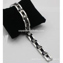 Bracelete de bracelete de chapeamento preto para homens Bracelete de corda de metal de aço inoxidável 316