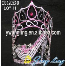 Pink High Heels Queen Crystal Crown Ladies