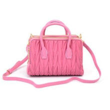 Fashion Soft Nylon Womens Leather Bag Shoulder Tote , Pink