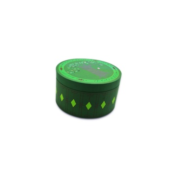 Green cylindrical top and bottom suger box