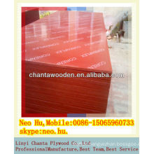 Full hardwood core phenolic red film faced plywood