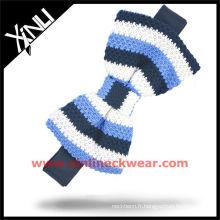 Noeud papillon tricoté en soie blanc bleu Tricot avec rayures verticales