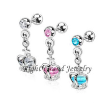 316L Stainless Steel Crown Dangle Piercing Ear Cartilage