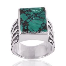 Belle grande bijoux tibétains turquoise en pierre antique anneau de conception simple pour hommes