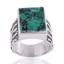 Beautiful Large Tibetan Turquoise Stone Antique Silver Simple Design Ring for Men's