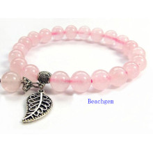 Natural Rose Quartz Beads Bracelet with Silver Charm (BRG0054)