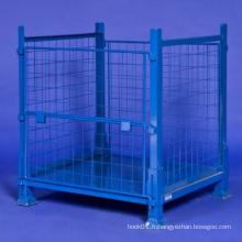 Cage de stockage industrielle pliable en métal