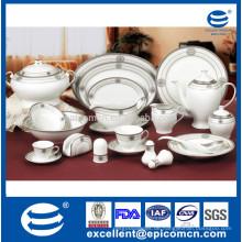 86pcs oder 121pcs runde silberne Entwurfs-Porzellan-Essgeschirr