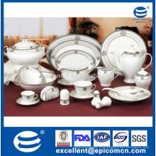 Vajilla de porcelana de diseño redondo de plata de 86 piezas o 121 piezas