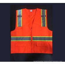 Orange Safety Vest with 4 Pockets, Meet En471