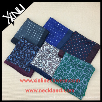 Hand Rolled Paisley Wool Silk Custom Print Wholesale Pocket Squares for Men
