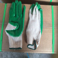 Luvas de trabalho revestidas de látex de cor verde