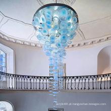 Lustre de luxo Mall Art Alumínio Acrílico Placa Azul