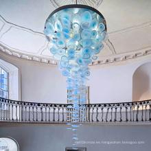 Lámpara de araña azul de placa de acrílico de aluminio de arte de centro comercial de lujo