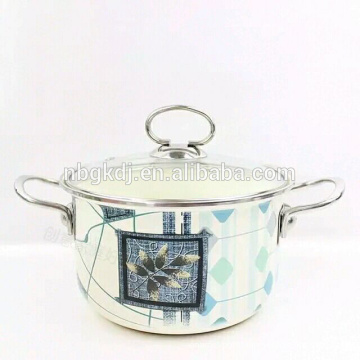 kitchen 5pcs enamel cookware set with full decal& double handle
