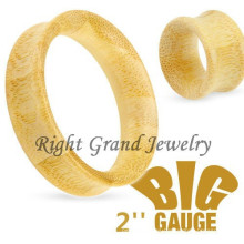 Natural Organic 50mm Ear Gauge Wood Flesh Tunnel Plug