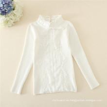 Duoduo Princess Girls 2015 nuevo modelo tejer snow blanco niños suéter sólido blanco collar mandarín niños pullover