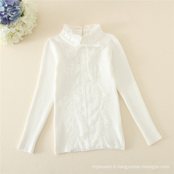 Duoduo Princess Girls 2015 nouveau modèle tricot neige blanc enfants chandail col blanc mandarin col montant pull