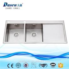 2017 nova bacia dupla artesanal com pia de cozinha de aço inoxidável drainboard com pia incluindo rack de secagem de prato e prato de grade