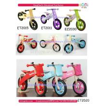 Bicicleta de equilíbrio de madeira infantil, quadro de madeira de desenho animado colorido, novo design 2016