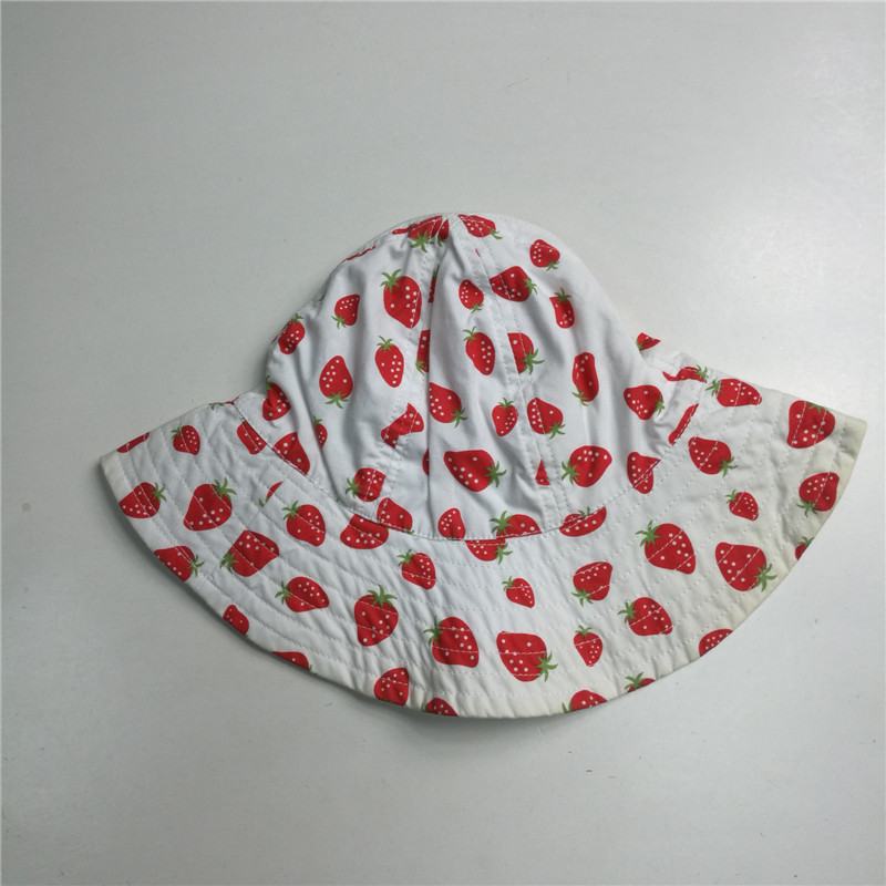 Baby Girl Cotton Poplin Strawberry Print Floppy Hat