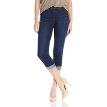 Органические оптом темно-синий женщин хлопок Капри джинсы