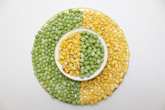 Calories in frozen corn and peas