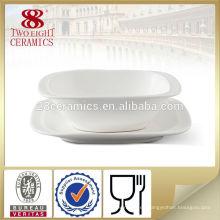 Sopa de porcelana blanca llana tazón de fuente, cuenco de cerámica tablewares tazones de novedad