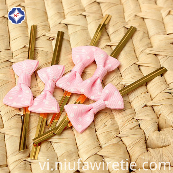 PET golden tin ties for bowknot