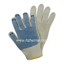 Knitted Polycotton PVC Dotted Gloves Safety Work Glove