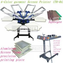 Impresora de serigrafía de color textil de camiseta de 6 colores