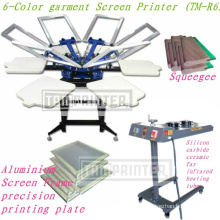 Máquina de impressão de tela de impressora de cor têxtil de t-shirt de 6 cores
