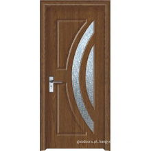 Porta do PVC do banheiro do vidro geado (WX-PW-161)