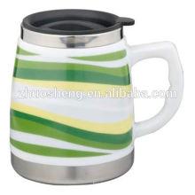 mejor venta de producto fabricado en china café taza promocional de cerámica taza con asa de viaje