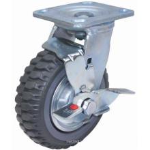 Roulette pivotante pivotante PU avec frein latéral (gris)