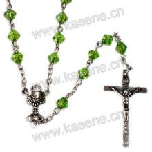 Forma de diamante Crucifijo católico Rosario collar con la pieza central de la Virgen María